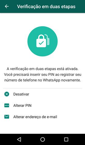 Desativar verificacao em duas etapas WhatsAp