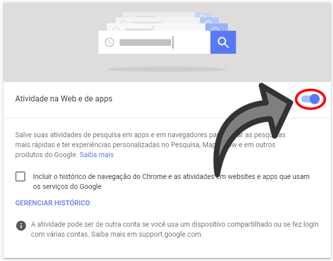 Parar histórico do Google