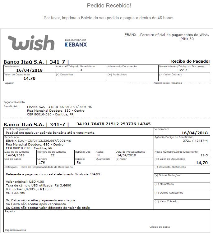 pagamento boleto wish ebanx