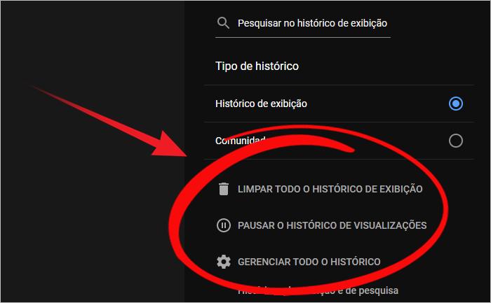 Como deletar histórico vídeos Youtube