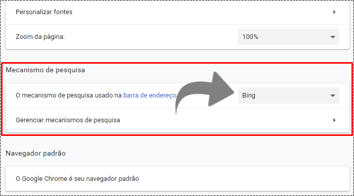 quero remover o bing do chrome