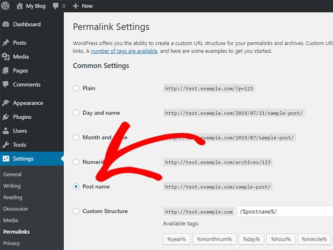 modifica le impostazioni del permalink del tuo blog WordPress in modo che i tuoi collegamenti appaiano meglio