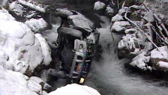 SUV Sideways In Mountain River