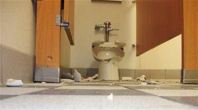 exploded toilet