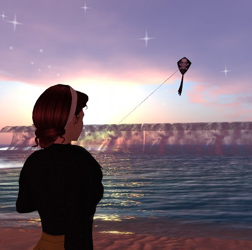 Second Life image of kite flying over sea