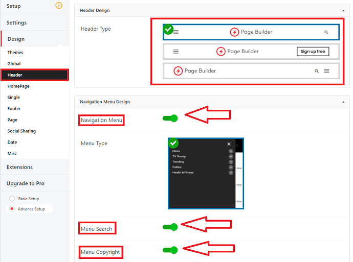 AMP for WP header configuration settings