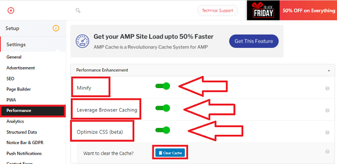 AMP for WP performance and caching settings