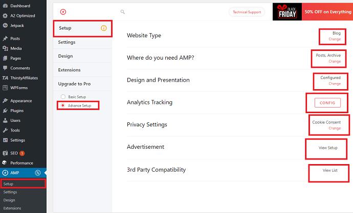 AMP for WP plugin configure setup settings
