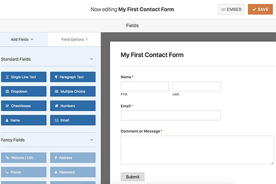 Edit contact form