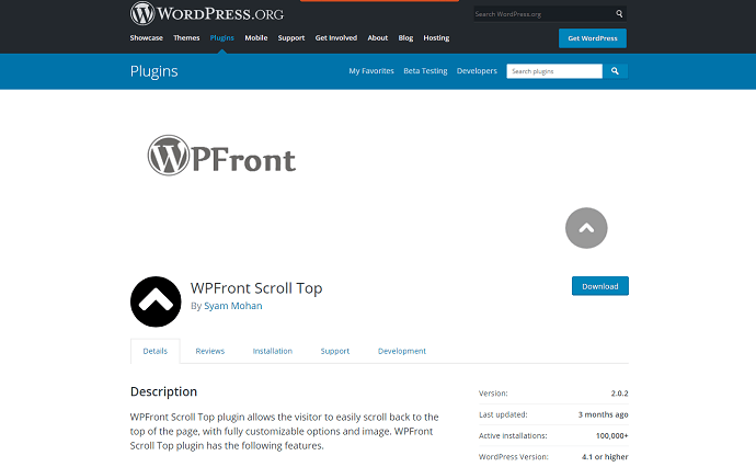 Method 2 Install WPFront Scroll Top Plugin