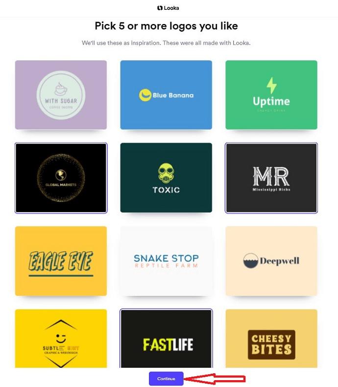 Pick logo styles in Looka