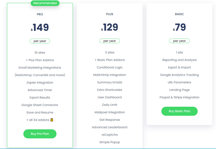 Quiz and Survey Master-Plugin-Pricing-and-Plans