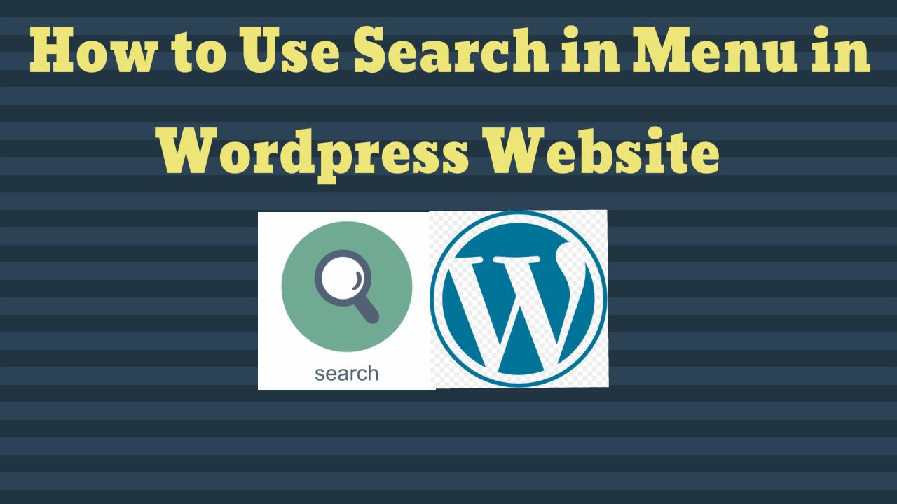 Search Menu in Wordpress Website