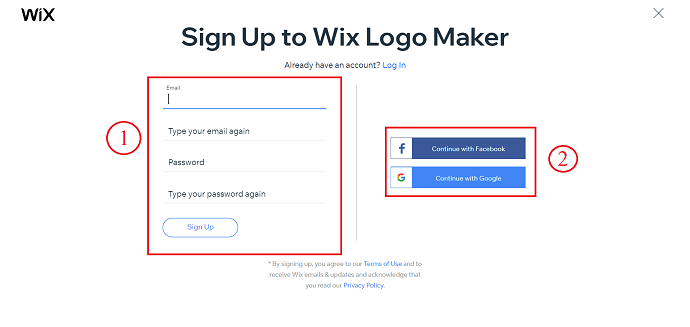 Signup to Wix