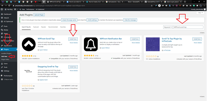 Step 1 Search and Install the WPFront Scroll Top plugin