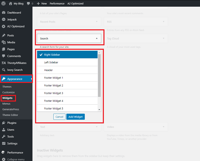 WordPress default search widget form