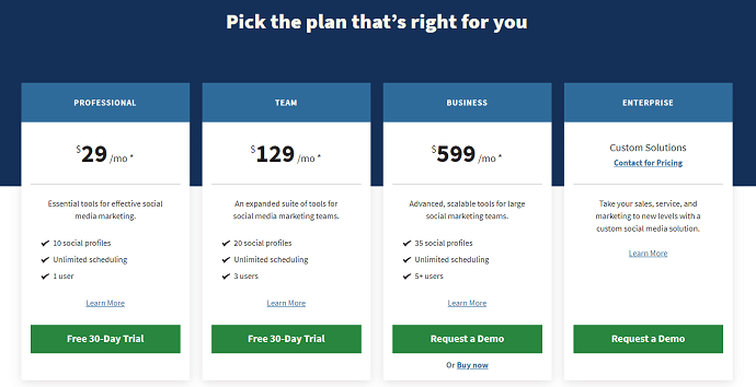 Hootsuite Pricing and plans - best sprout social competitors