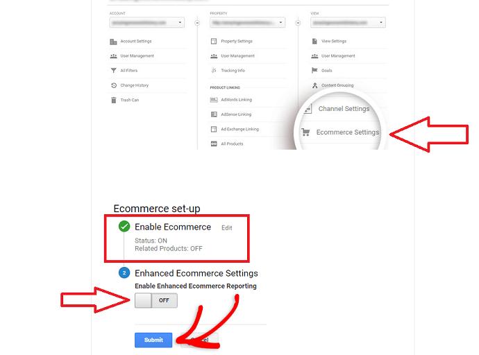 Step 1 Turn on eCommerce Tracking