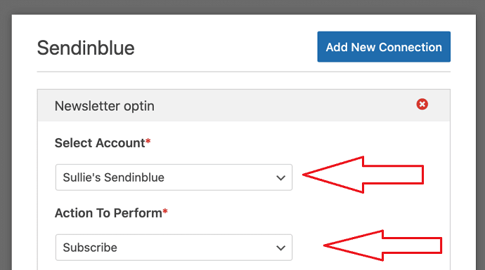 Step 8 Select Sendinblue Account and define an Action to perform