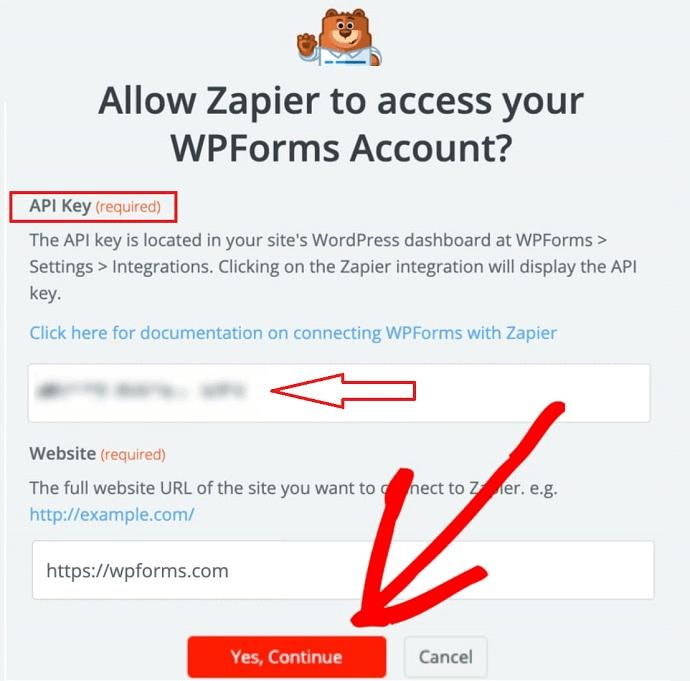 Step 9 Enter the Zapier API key