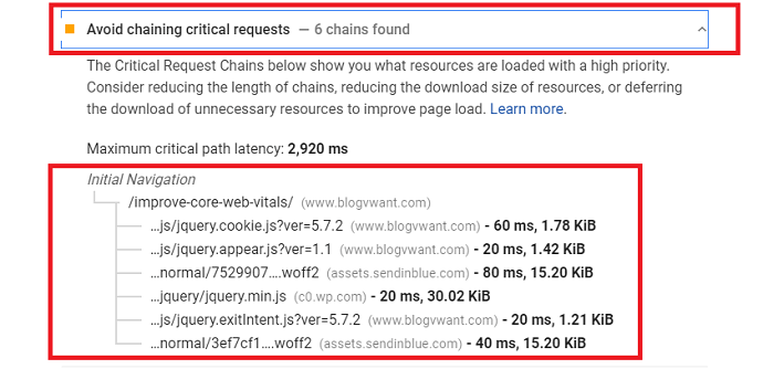 Google page speed recommend to avoid chaining critical requests - LCP Error