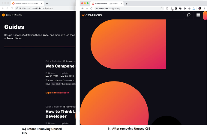 Removing unused css may leads to design breakage