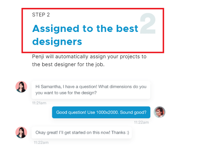 Step 2 Got Assigned a Graphic designer (How Penji Works)