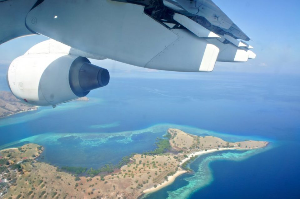 The view from the plane to the Komodo national Park