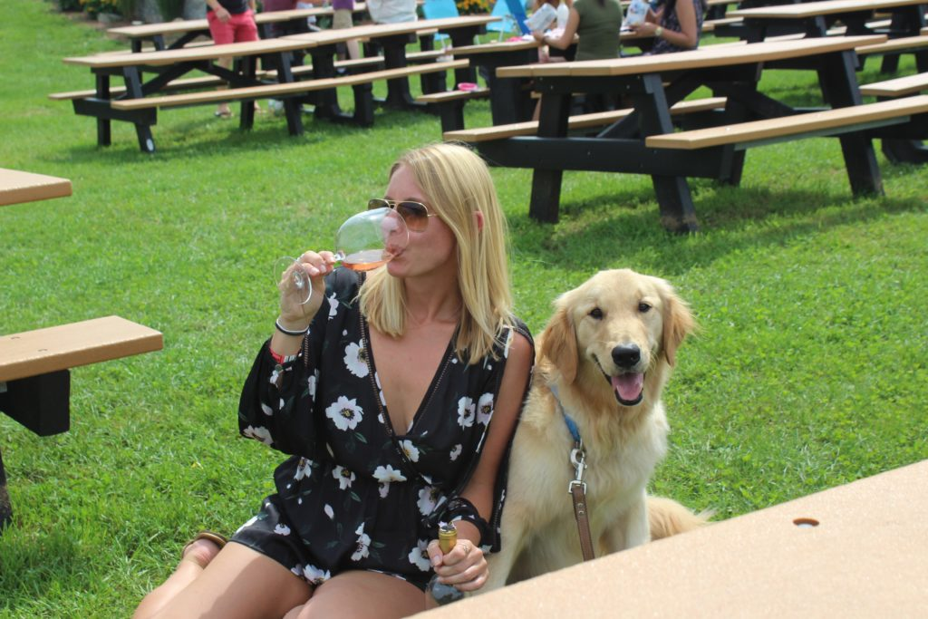 dog and girl drinking wine