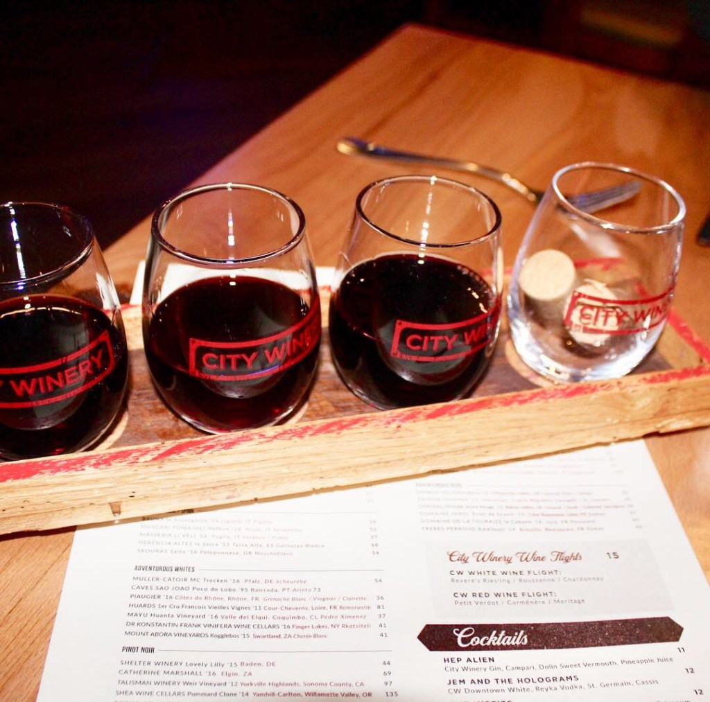 wine flight in Boston, MA