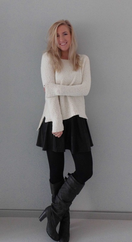 OOTD-outfit-whatimwearing-fluffy-sweater-trui-forever21-leather-look-skirt-stradivarius-leer-high-heel-boots-zara-nice-warm-winter-4