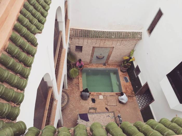 morocco, riad, marrakech, swimmingpool, architecture
