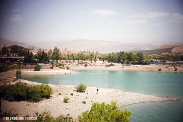 Lalla Takerkoust, lake, palm trees, beach, morocco