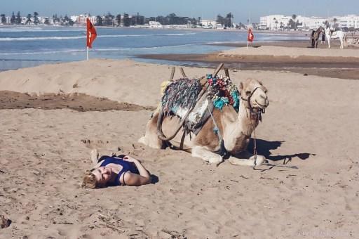 essaouira beach camel girl
