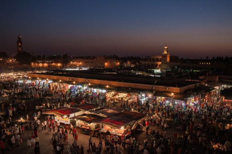 Marrakech main Jemaa El Fna square at night. Photo by www.twin-loc.fr