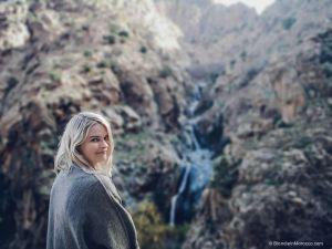 waterfalls, girl, blondie, mountain, morocco