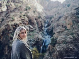waterfalls, girl, blondie, mountain, morocco