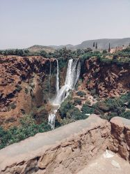ouzoud, waterfall, morocco, mountain, view
