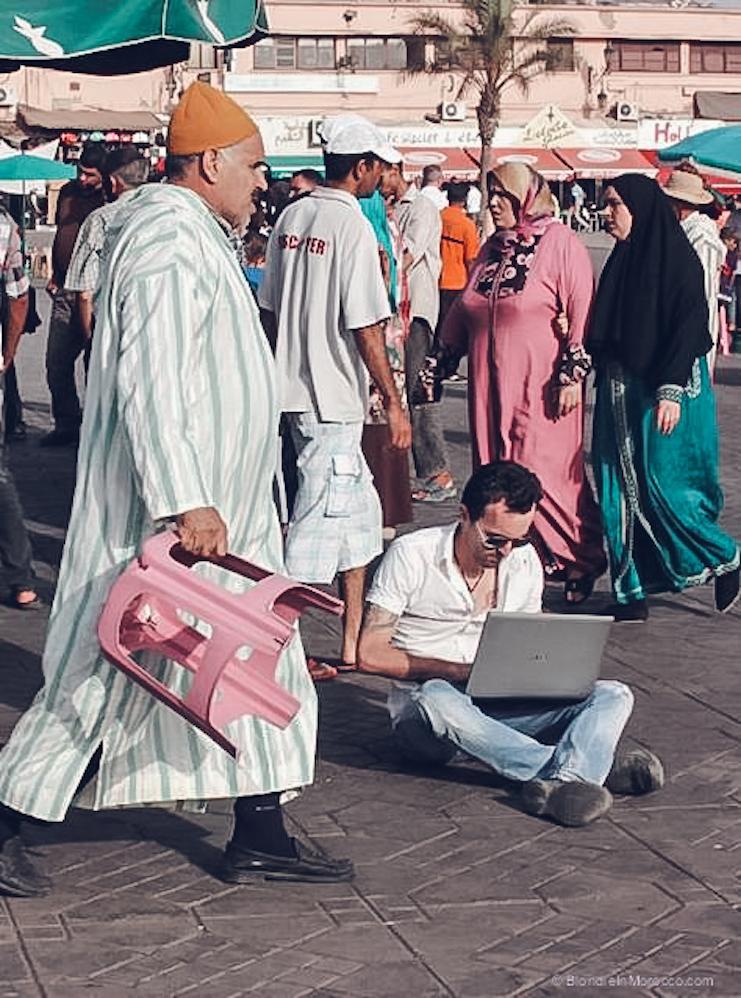 morocco street freelancer people laptop