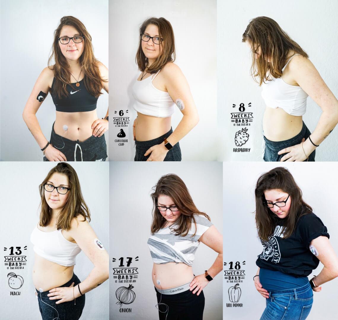 Lisas Bauch von Woche 6 bis Woche 18 - so schnell wächst das Baby