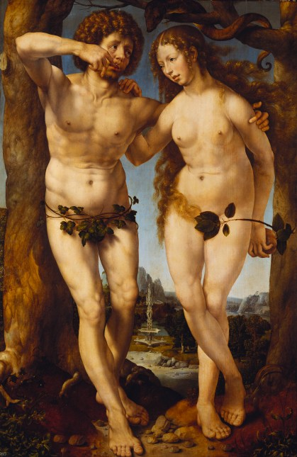 Jan Gossaert, Adam and Eve, c.1520 'The Northern Renaissance: Durer to Holbein' at The Queen's Gallery, Buckingham Palace - www.royalcollection.org.uk  2 November 2012 - 14 April 2013  Credit - Royal Collection Trust (c) 2012, Her Majesty Queen Elizabeth II  This photograph is issued to end-user media only. Single use only. Photographs must not be archived or sold on.