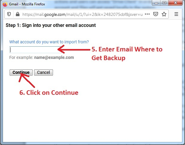 Enter Email - Take Backup of One Gmail Inbox to Another Gmail Account