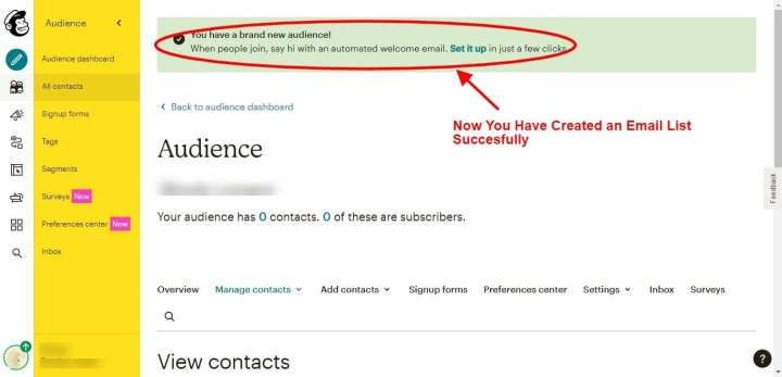 Step 7 - Create an Email List in MailChimp