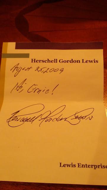 Herschell Gordon Lewis Autograph