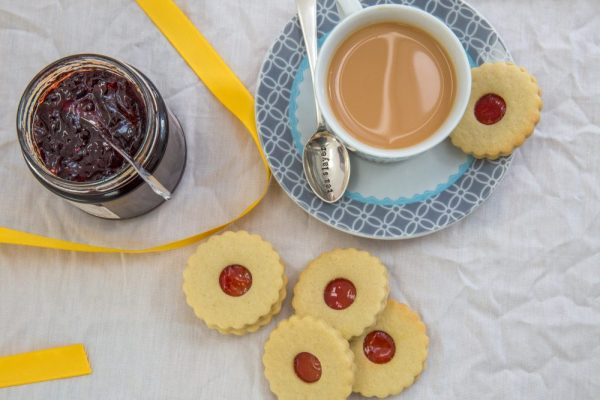 Jam Sandwich biscuits and tea