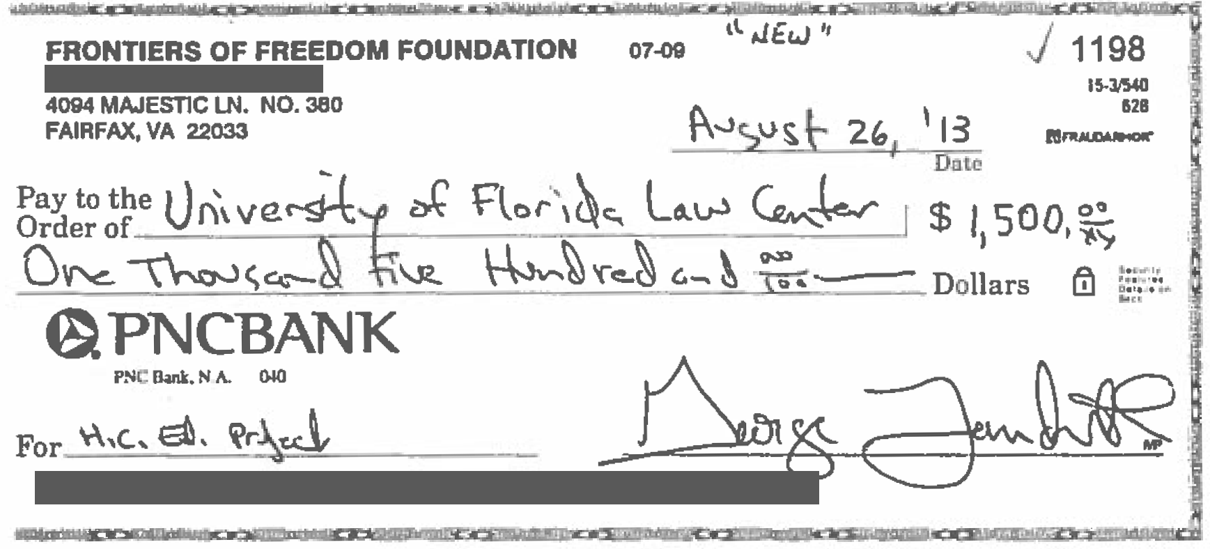 Image of check for $1,500 to the University of Florida Law Center from the Frontiers of Freedom Foundation