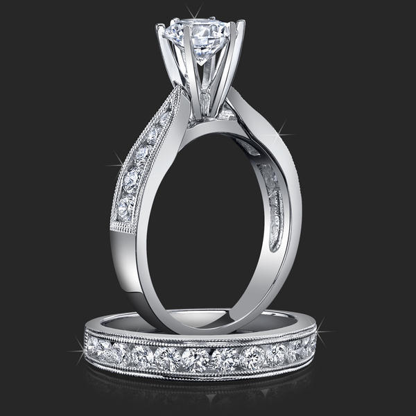 Jewelers Pride Pointed Cathedral Engagement Rings With