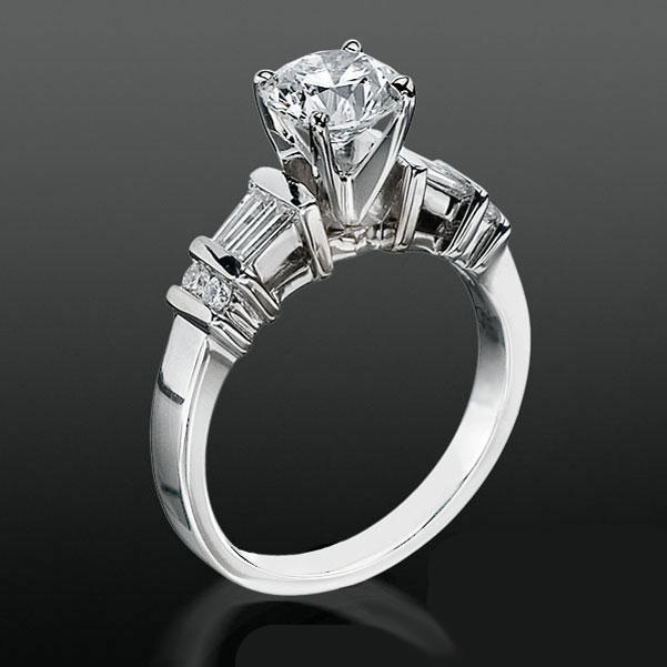 Tiffany Style Engagement Ring With Tapered Baguette And