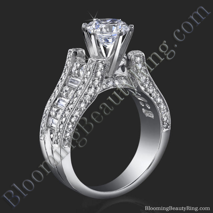 6 Prong Tiffany Style Engagement Ring With Alternating