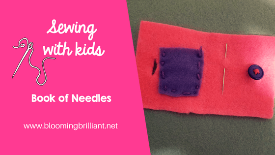 Teaching my daughter how to sew has been surprisingly fun and easy. We started working on creating a sewing kit of her very own. This book of needles is a simple project that helps her keep her needles and needle threader read for action. She worked on skills such as sewing on a button and using the running stitch to add a pocket.